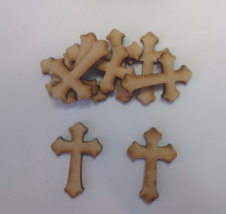 Wooden mdf CROSS craft shapes tags tree decor 10 PACK 3mm Thick
